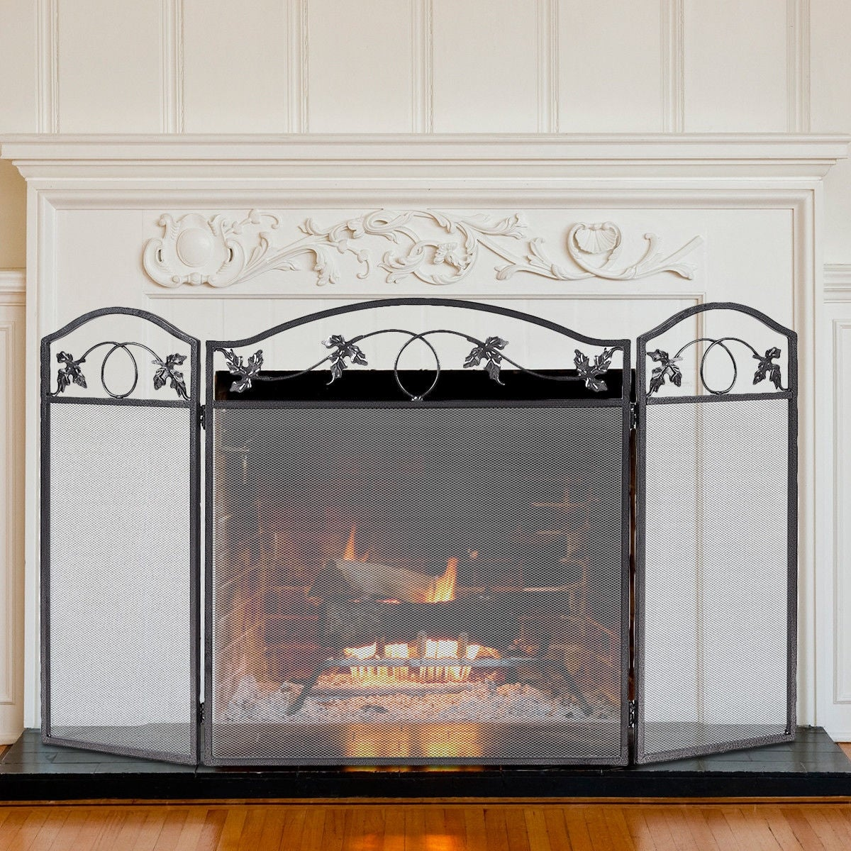 Shop Costway Folding Steel Fireplace Screen Doors 3 Panel Heavy Duty