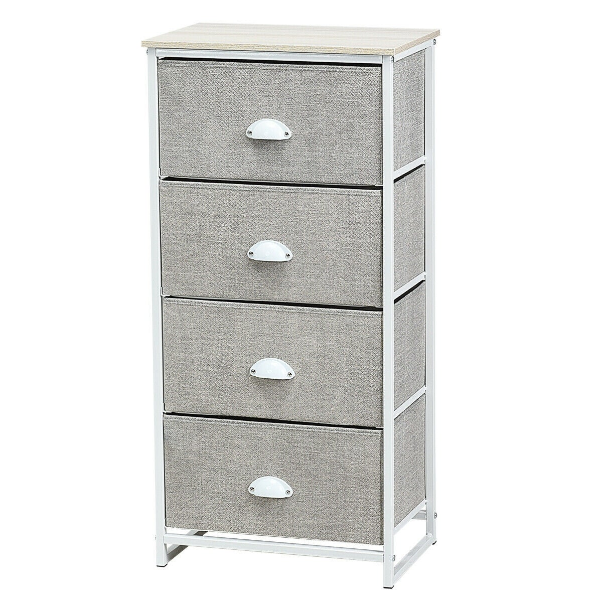 Gymax 4 Drawers Dresser Chest Storage Tower Side Table Display Home Furniture Office