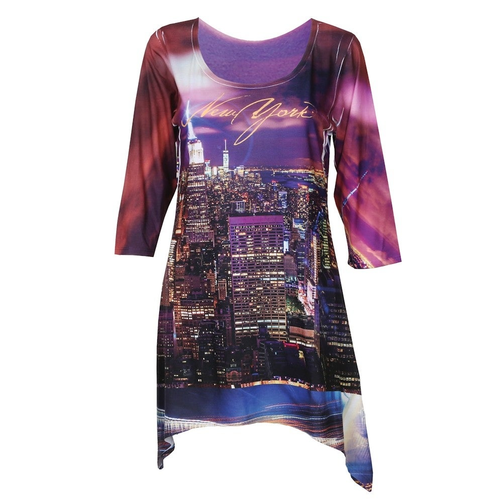 96760b8412409 Shop Women's Majestic Skylines Tunic Top - Sharkbite Hem - New York ...