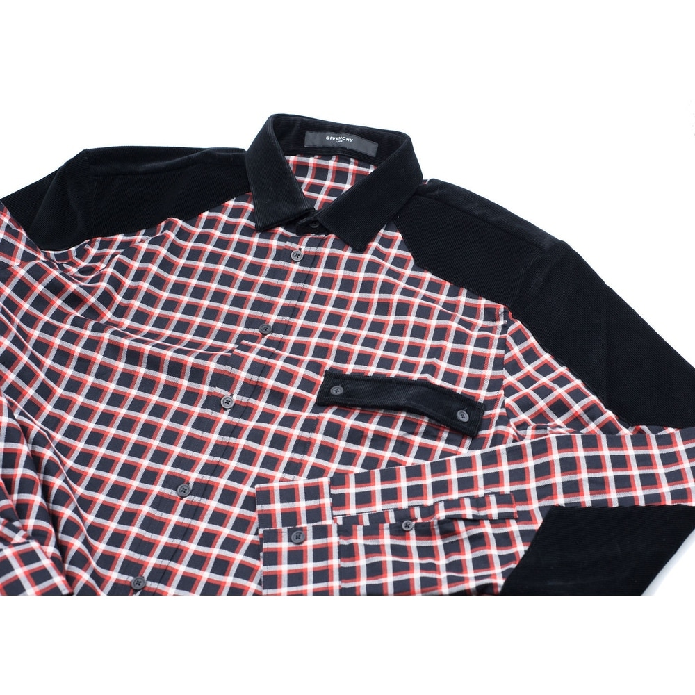 888d505e6f45 Shop Givenchy Men s Cotton Red   Black Plaid Button Down - 44 - Free  Shipping Today - Overstock - 16687150