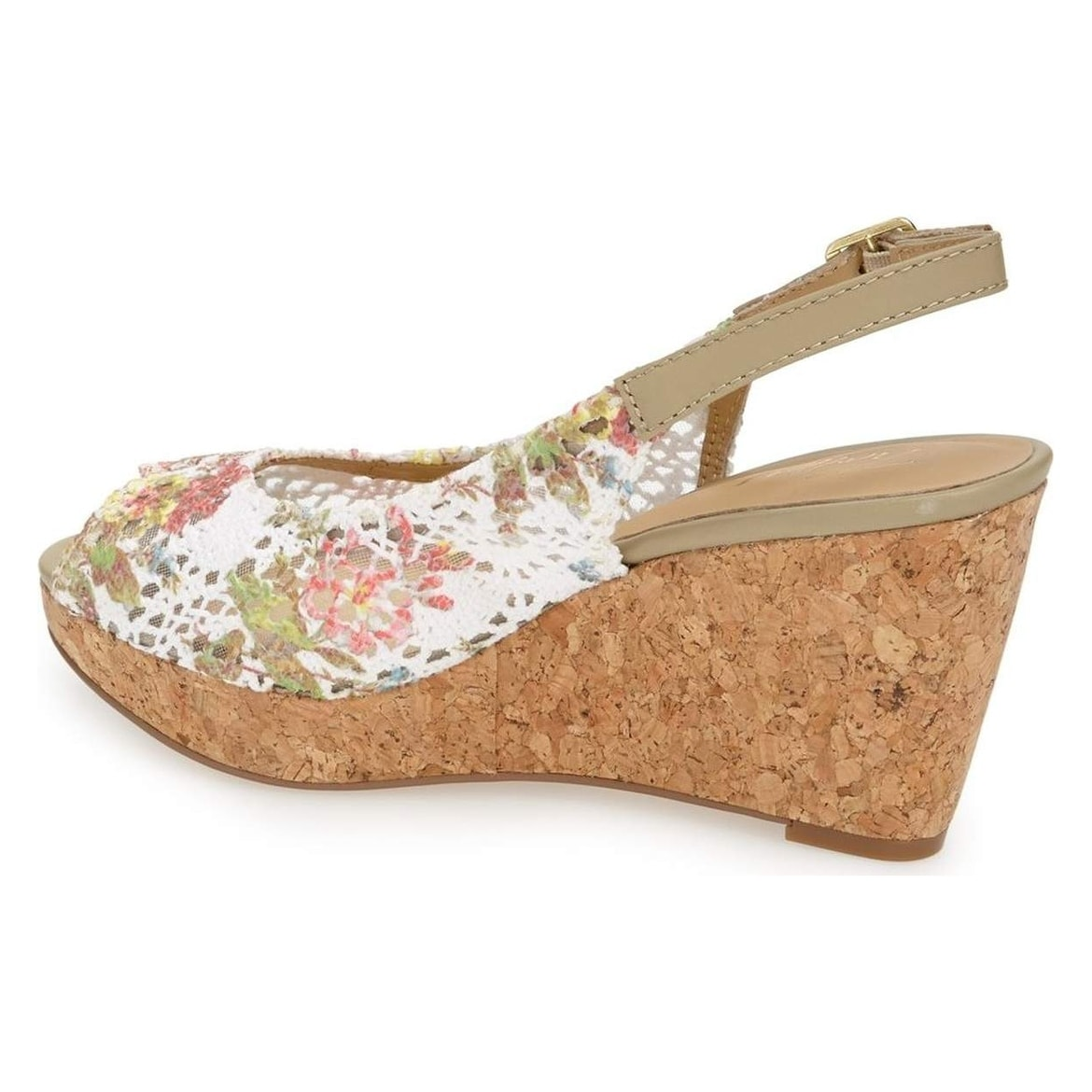 Shop Trotters White Shoes Slingback 75n Floral Wedges Leather Heels