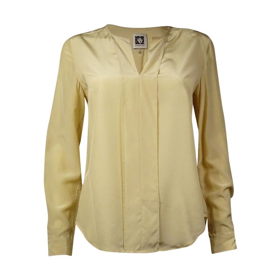 Yellow Silk Long Sleeve Blouse Anlis