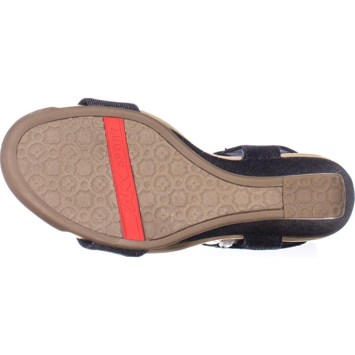 f741c0f4ac Shop AK Anne Klein Sport Latasha Comfort Wedge Sandals, Dark Blue/Gold -  Free Shipping Today - Overstock - 17434467