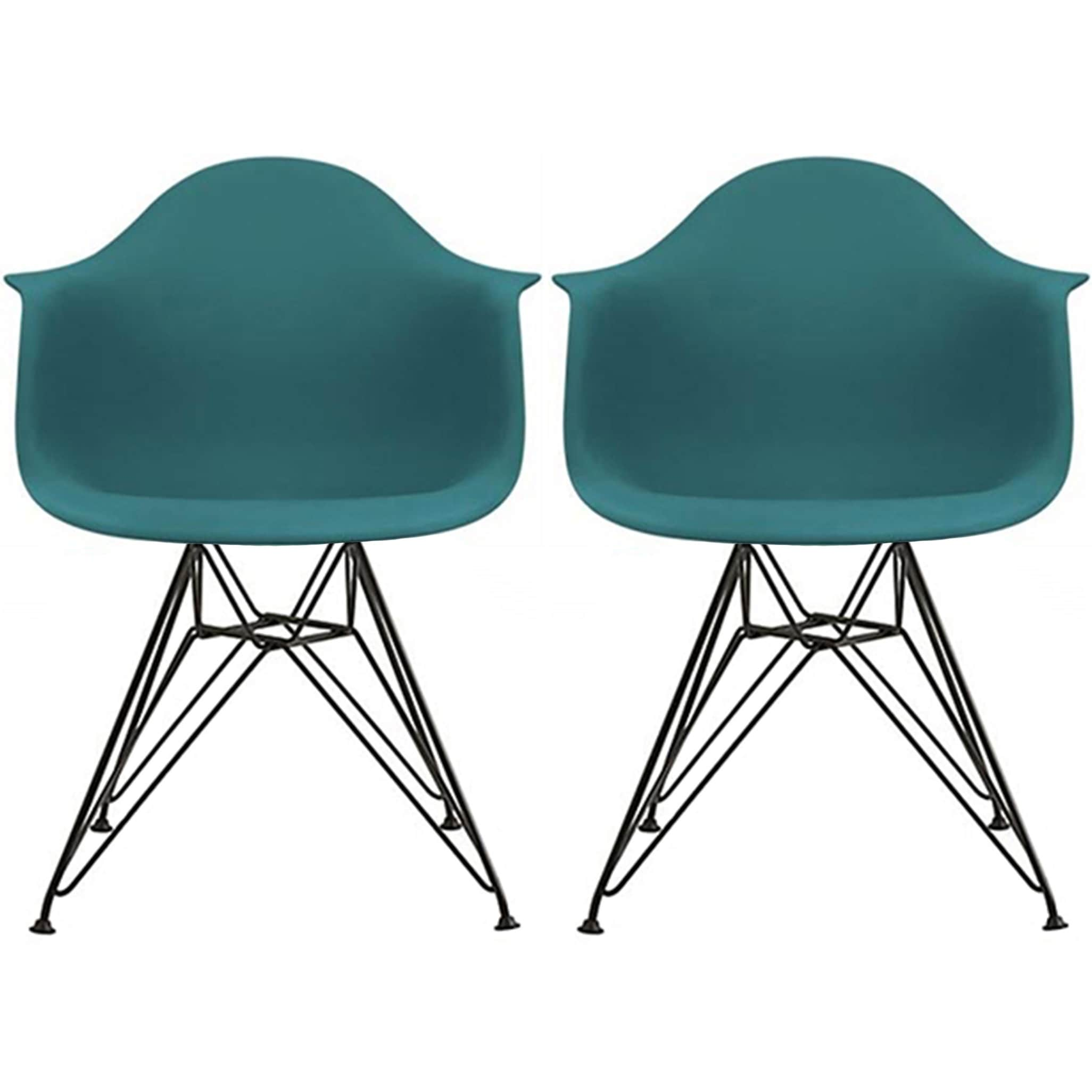 Shop 2xhome Set of 2 Modern Plastic Armchair with Arms Black Eiffel ...