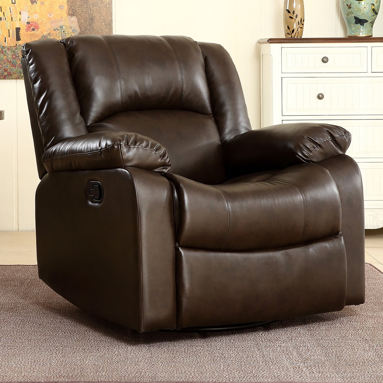 Shop belleze rocker and swivel glider recliner chair faux leather for living room free shipping today overstock com 22163190