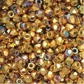 True2 Czech Fire Polished Glass, Faceted Round 2mm, 50 Pieces, 24K Gold Plated