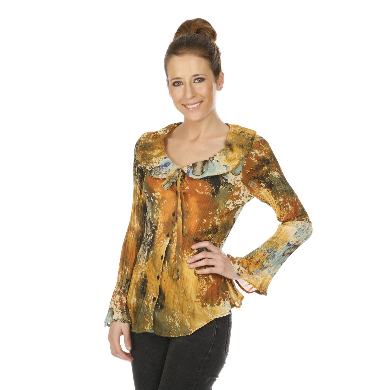 Shop Cathaya Womens Beige Spot Print Deep Neckline Peter Pan Collar