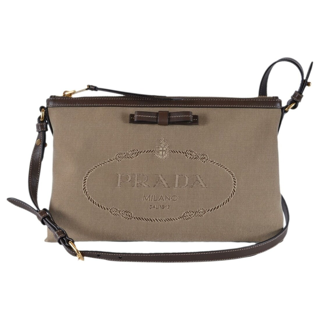 cb40a745d940d Shop Prada 1BH050 Bandoliera Logo Jacquard Crossbody Purse Clutch -  Beige Brown - Free Shipping Today - Overstock - 27095339