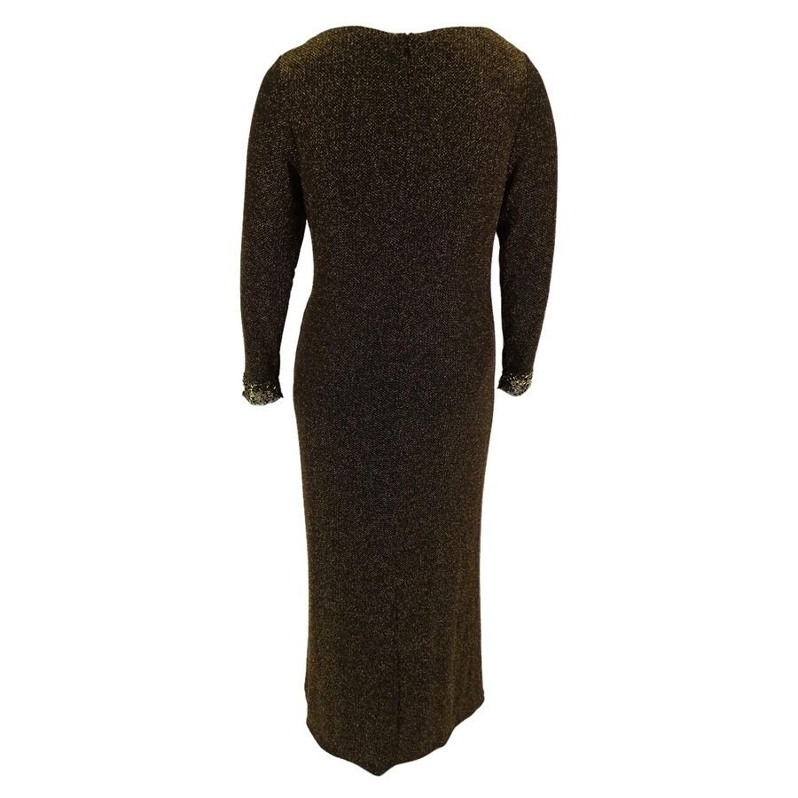 Patra Women\'s Long Sleeve Metallic Gown - Free Shipping Today ...