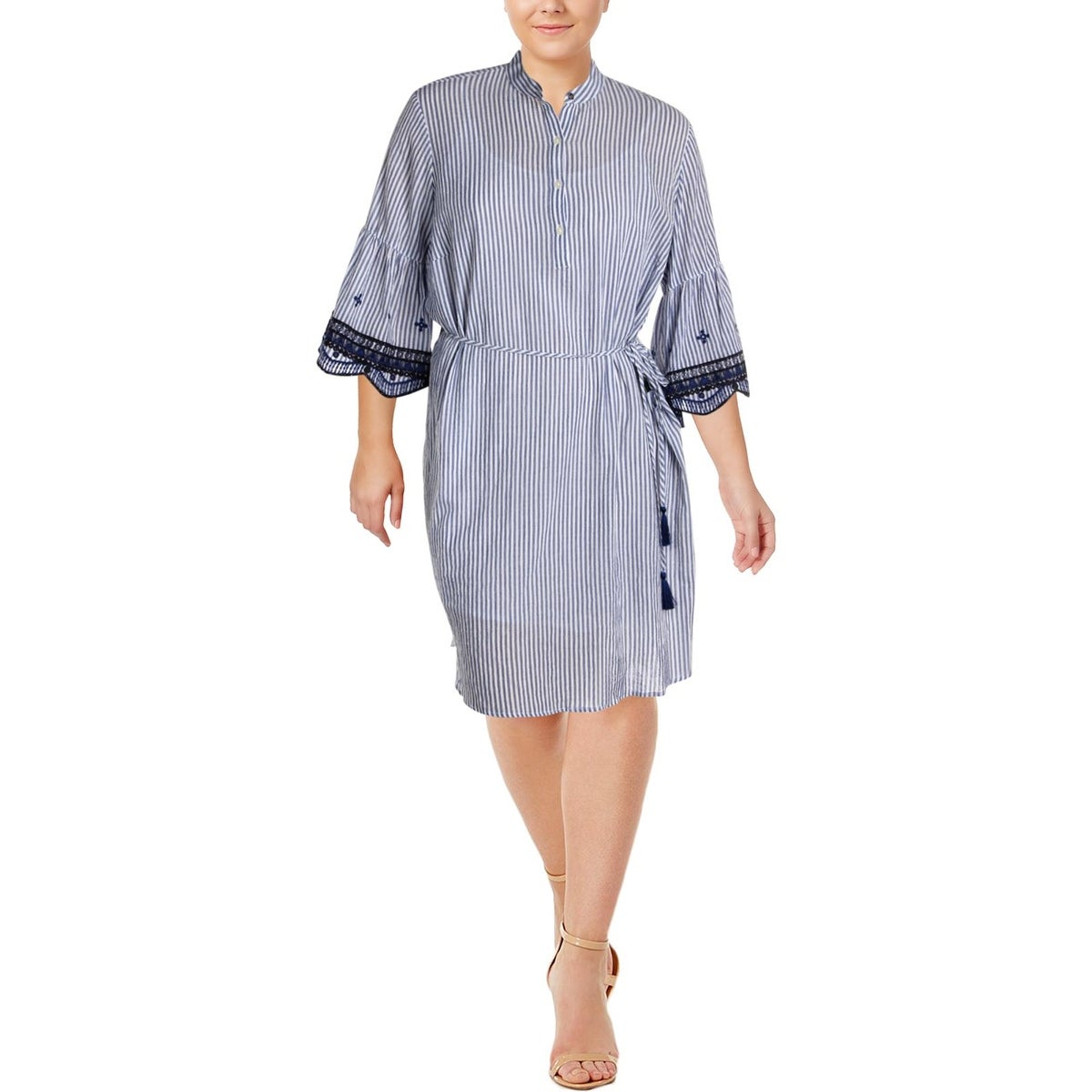 Lauren Ralph Lauren Womens Plus Casual Dress Bell Sleeve Quarter Button-Down