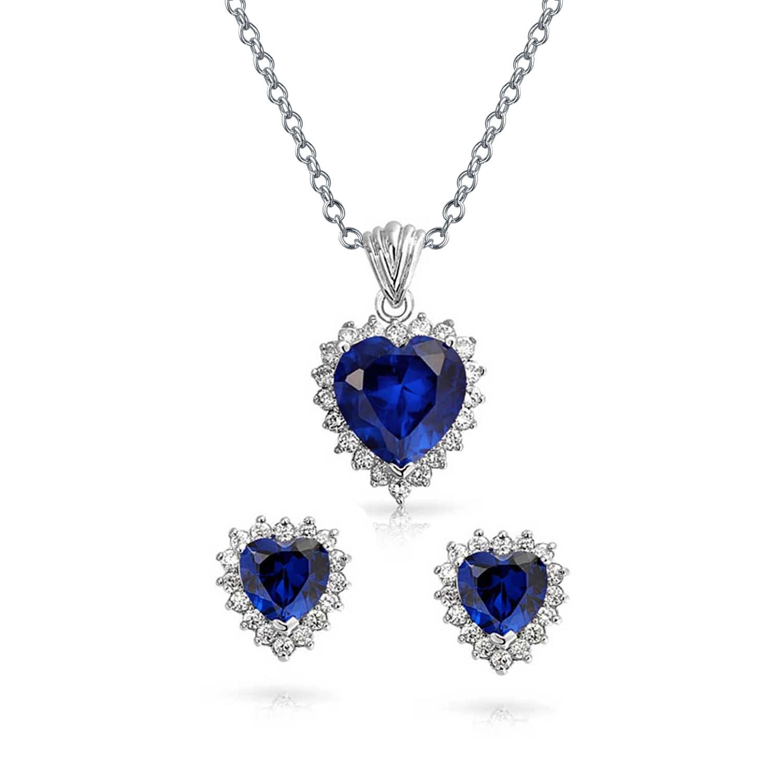 727cbe7d09d Navy Blue Pave CZ Halo Cubic Zirconia Heart Pendant Necklace Stud Earring  Set For Women Girlfriend Silver Plated Brass