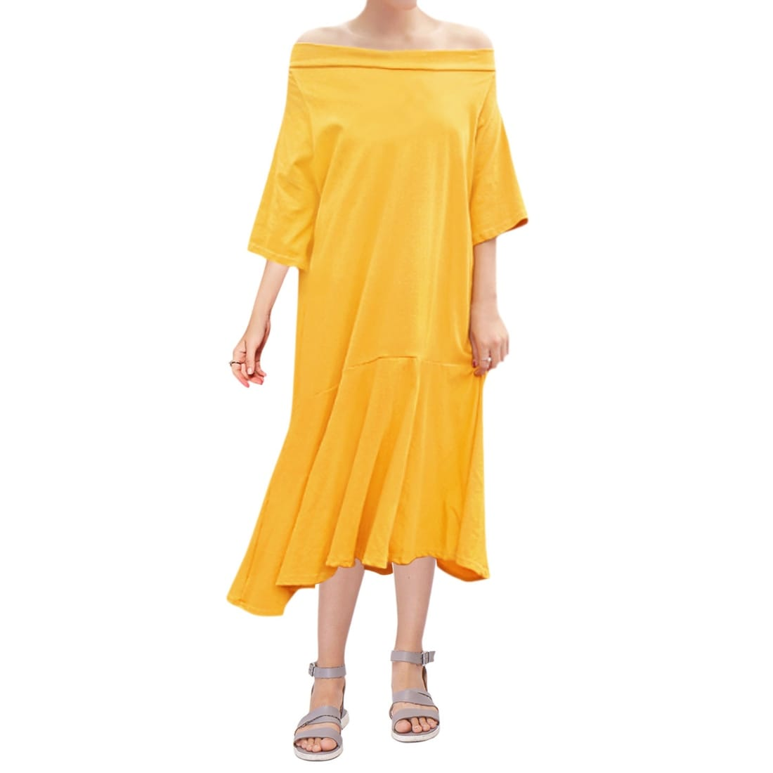 3b18246b1509 Shop Women Off Shoulder 3 4 Sleeves Flouncing Hem Loose Midi Dress - Yellow  - Free Shipping On Orders Over  45 - Overstock - 23580618