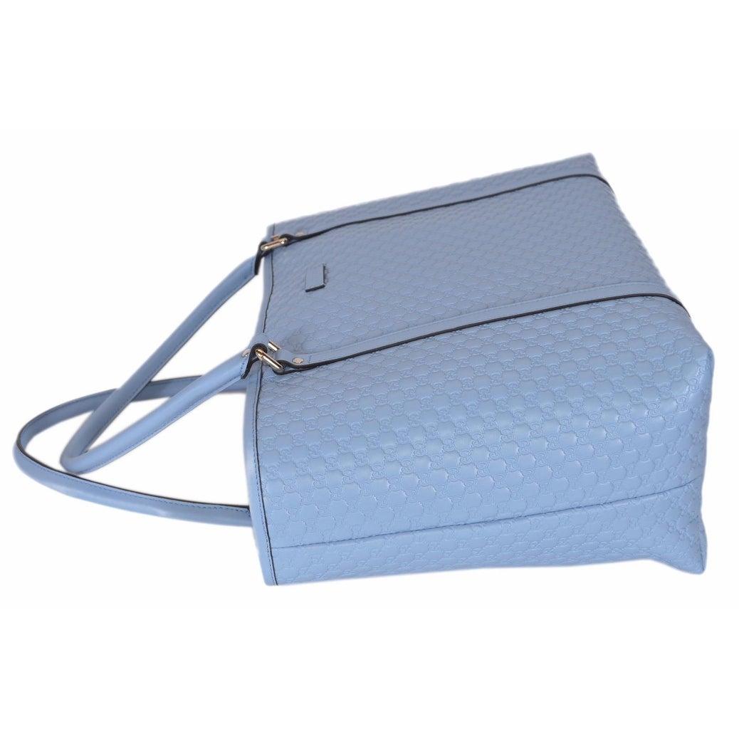 646170b5371 Shop Gucci 449647 Light Blue Leather Micro GG Guccissima Joy Purse Handbag  Tote - Mineral Blue - 16