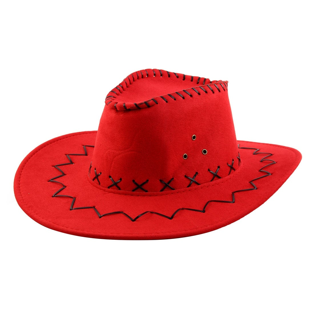 Shop Faux Suede Adjustable Neck Strap Wide Brim Western Style Sunhat Cowboy Hat  Red - Free Shipping On Orders Over  45 - Overstock.com - 18463787 529e6eca8293