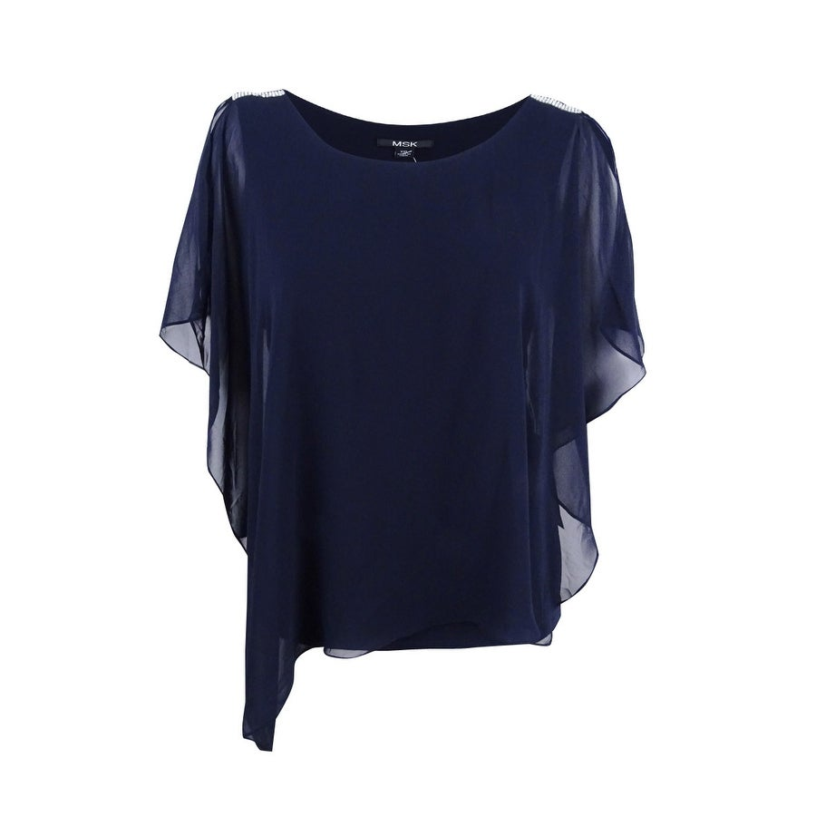 bccc6fcd89fa48 Shop Msk Women s Embellished Cold-Shoulder Chiffon Top - On Sale ...