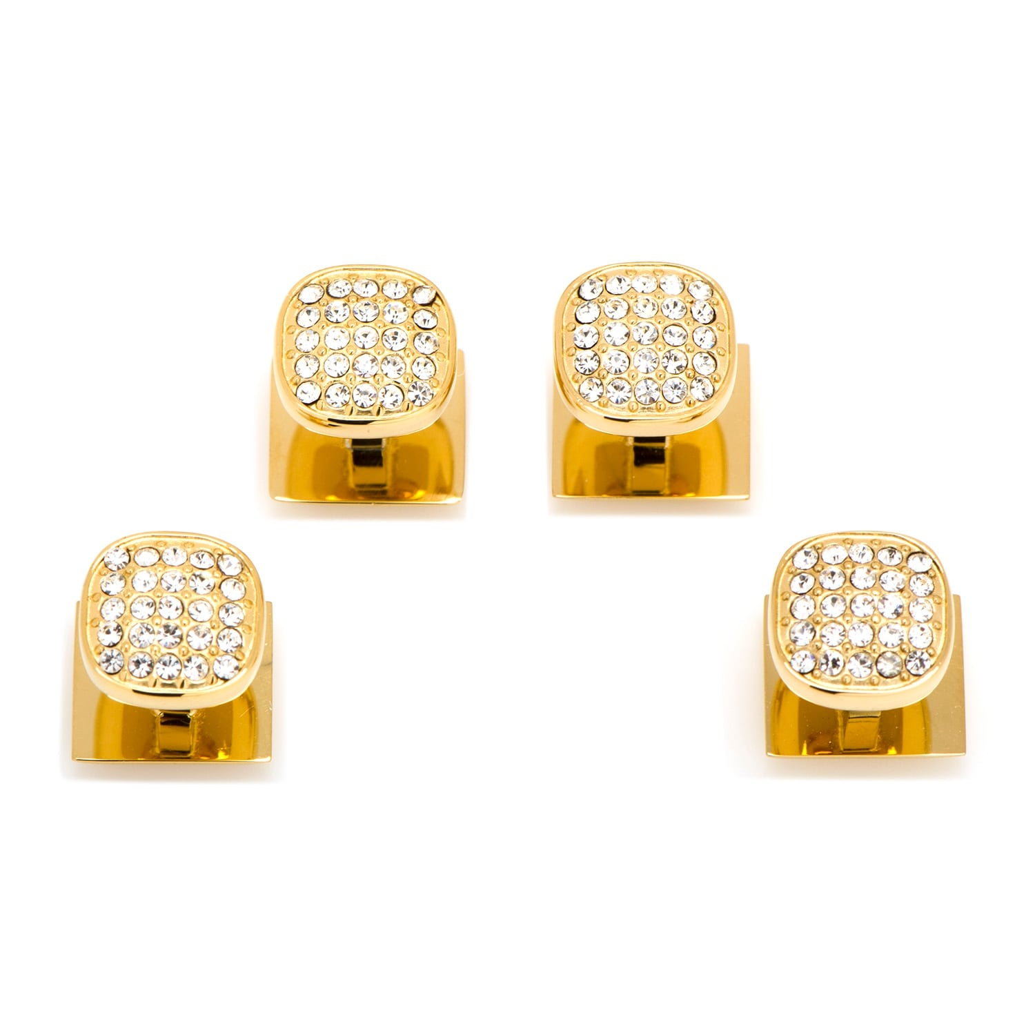 Stainless Steel Gold Plated White Pave Crystal Studs