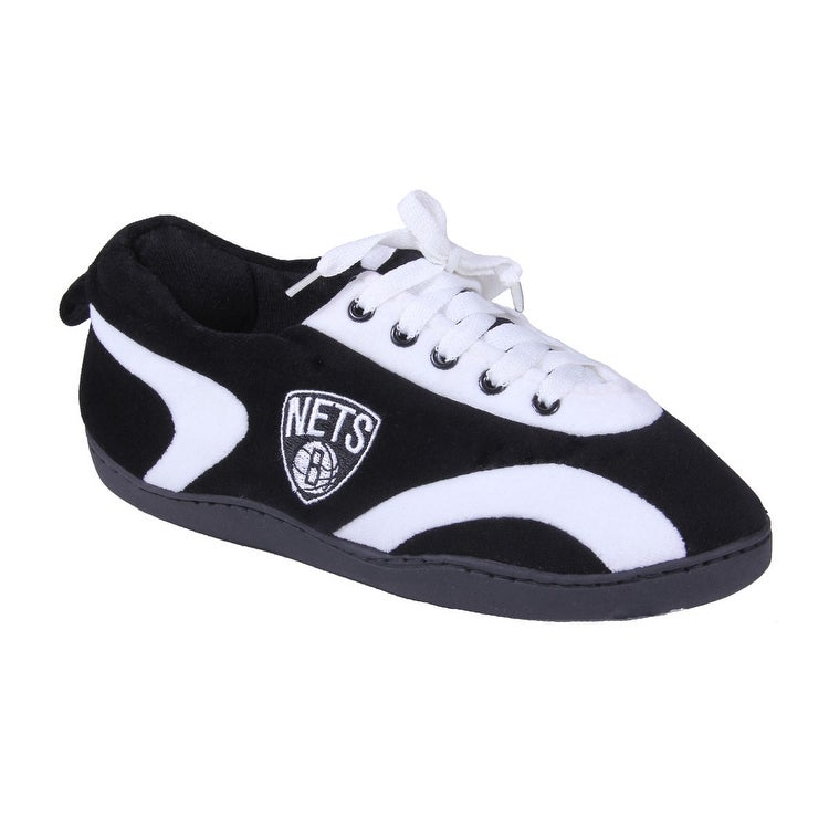 f0d90826de8946 Happy Feet Mens and Womens Brooklyn Nets NBA All Around Slippers - Brooklyn  Nets