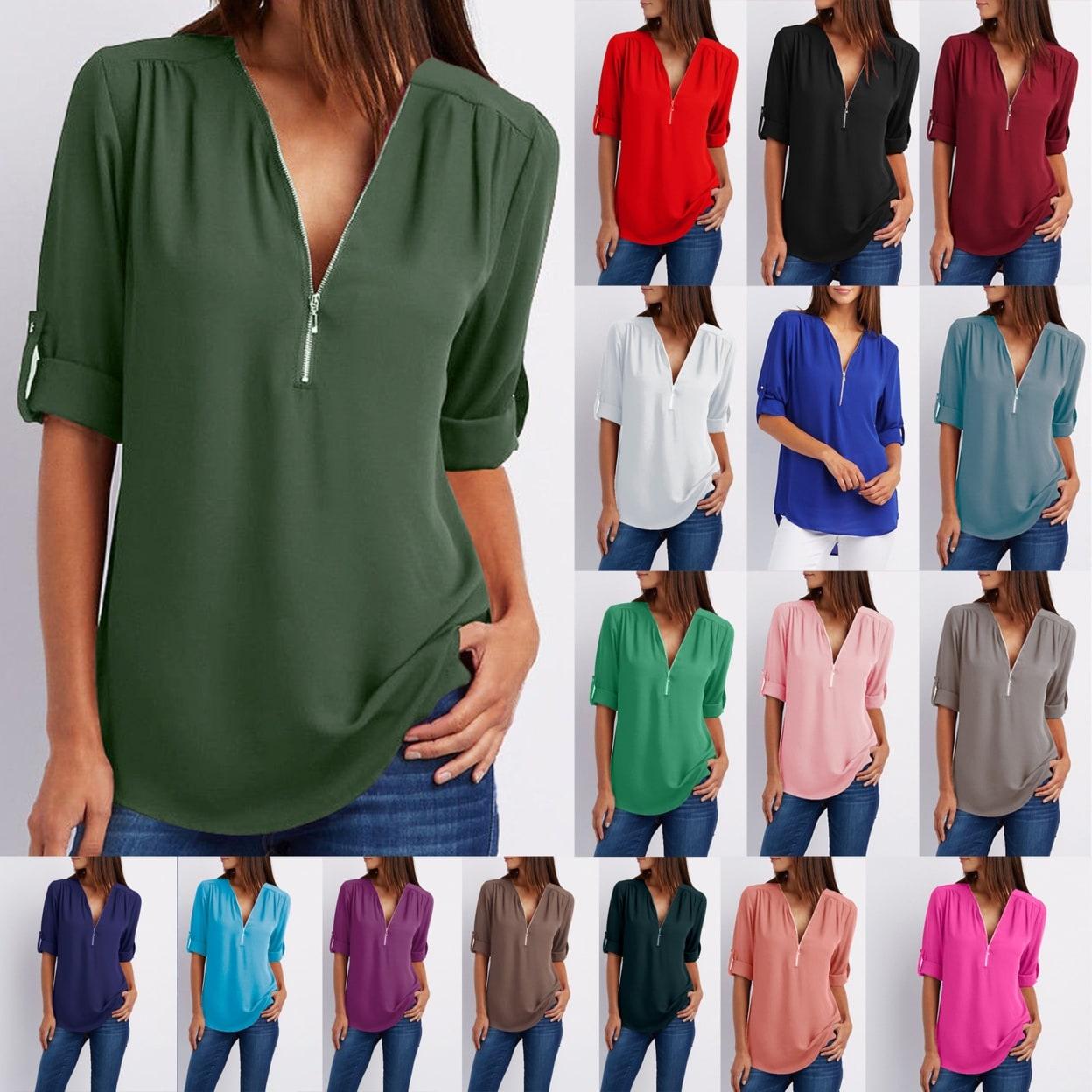 79dc7f6e Shop Chiffon Zipper Blouse - Free Shipping On Orders Over $45 ...
