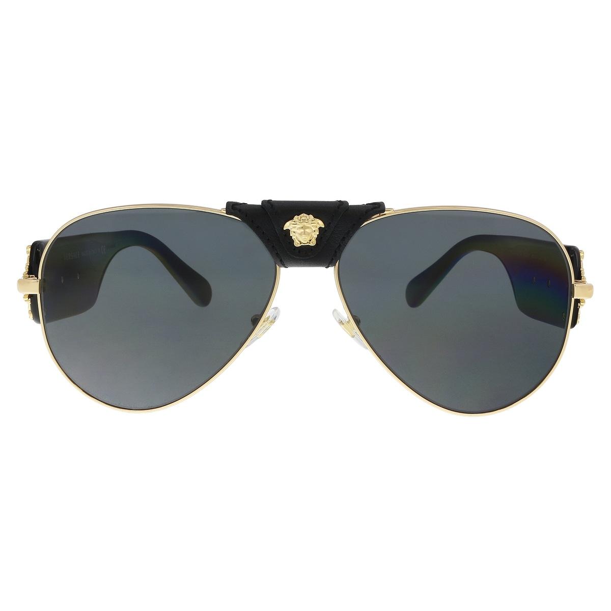 b7862b7ef304 Shop Versace VE2150Q 100287 Gold Aviator Sunglasses - 62-14-140 - Free  Shipping Today - Overstock - 21655478