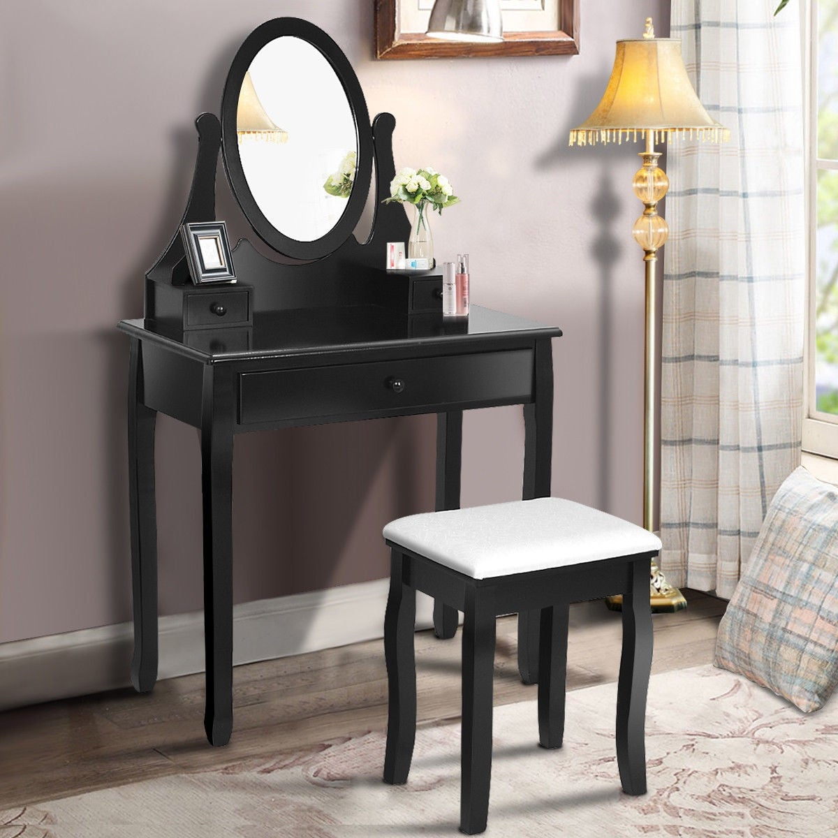 Gymax Bathroom Wooden Mirrored Makeup Vanity Set Stool Table Black Free Shipping Today 22971633