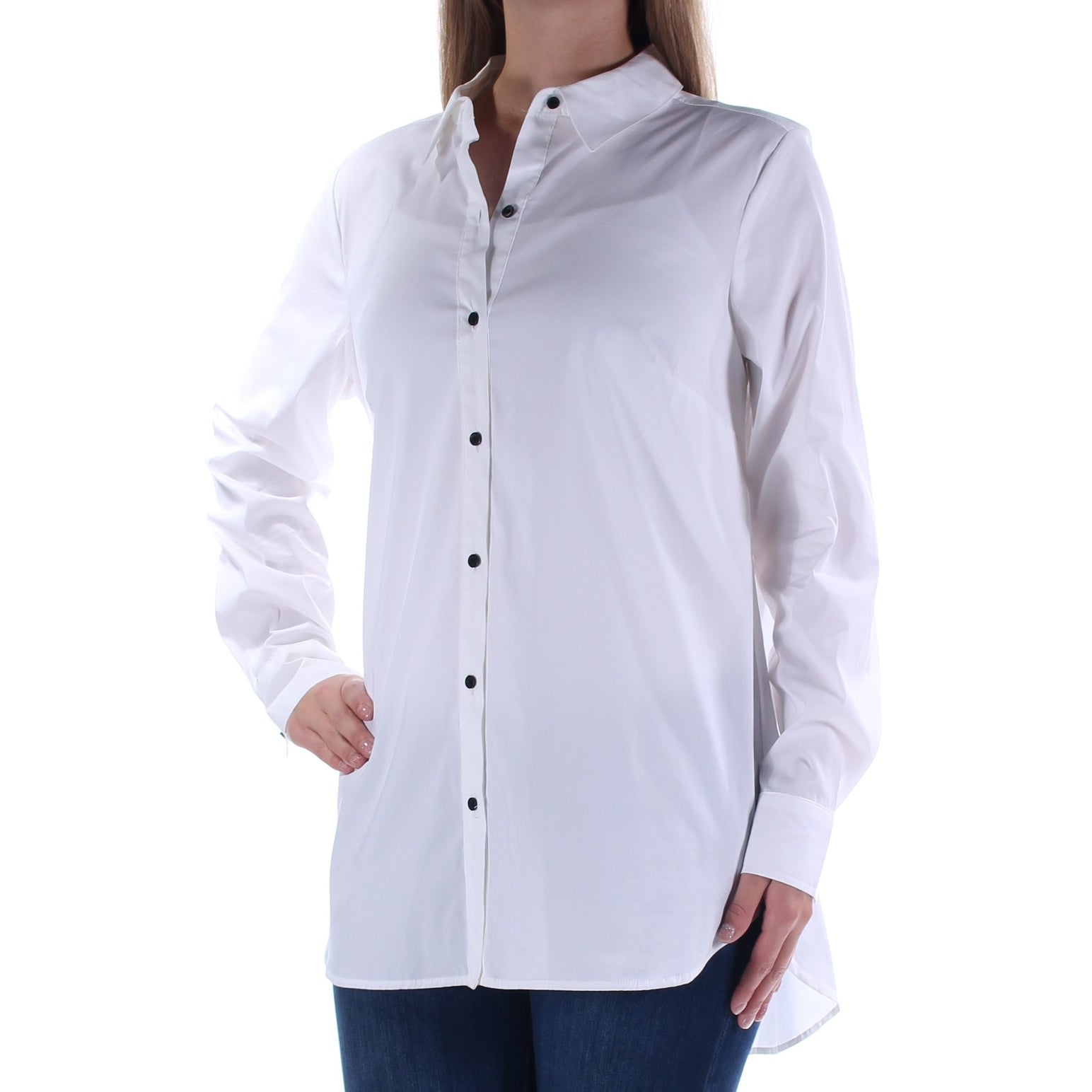Shop Alfani Womens White Long Sleeve Collared Button Up Top Size 12