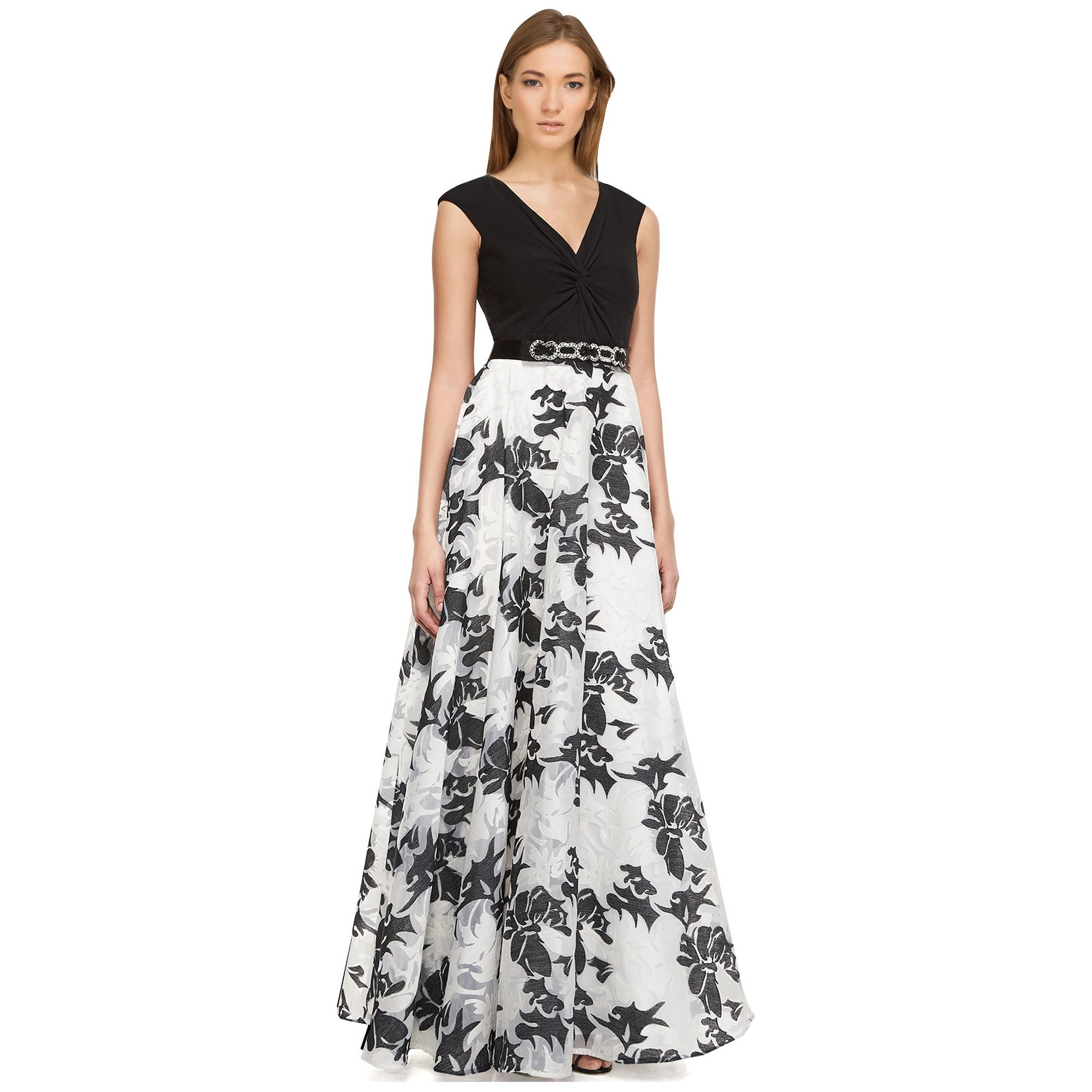 Shop Teri Jon Floral Sleeveless V-Neck Evening Gown Dress - 12 ...