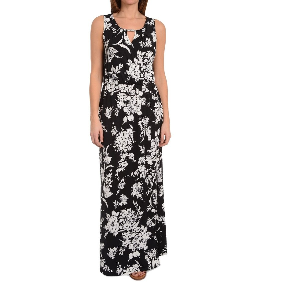 2434f3fe97b Shop NY Collection Black White Womens Size Large L Keyhole Maxi Dress - On  Sale - Free Shipping On Orders Over  45 - Overstock - 27287960