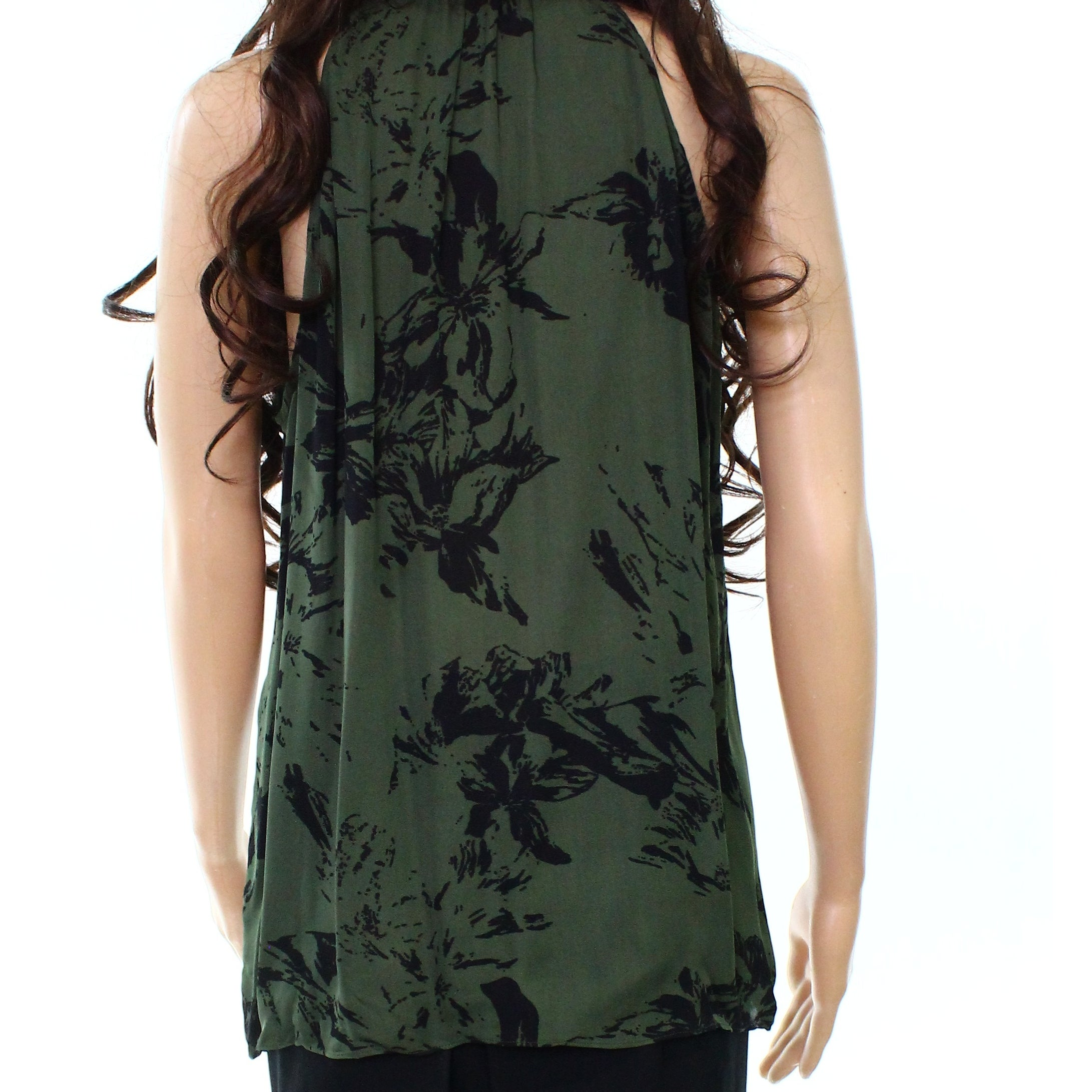 719deb3e31c Parker NEW Green Black Womens Medium M Abstract Print Silk Halter Top