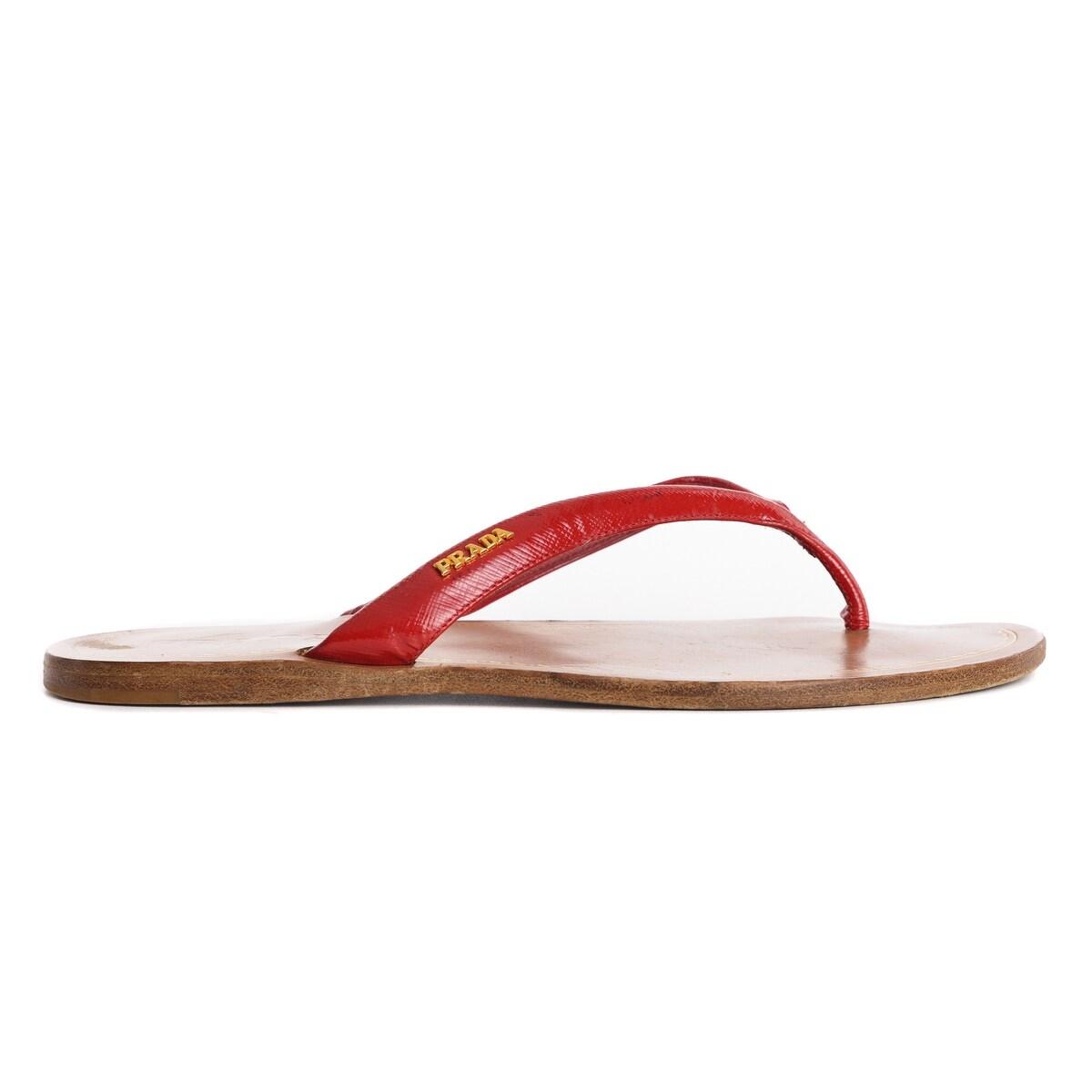 b07edbe6622cc Shop Prada Womens Red Patent Leather Thong Flat Sandals Sz 39 9 ~RTL ...
