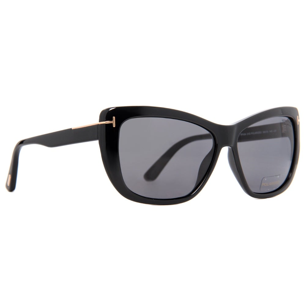 b2b42d6b52887 Shop Tom Ford Lindsay TF 434 01D Black Grey Polarized Women s Butterfly  Sunglasses - 58mm-13mm-140mm - Free Shipping Today - Overstock - 14050938
