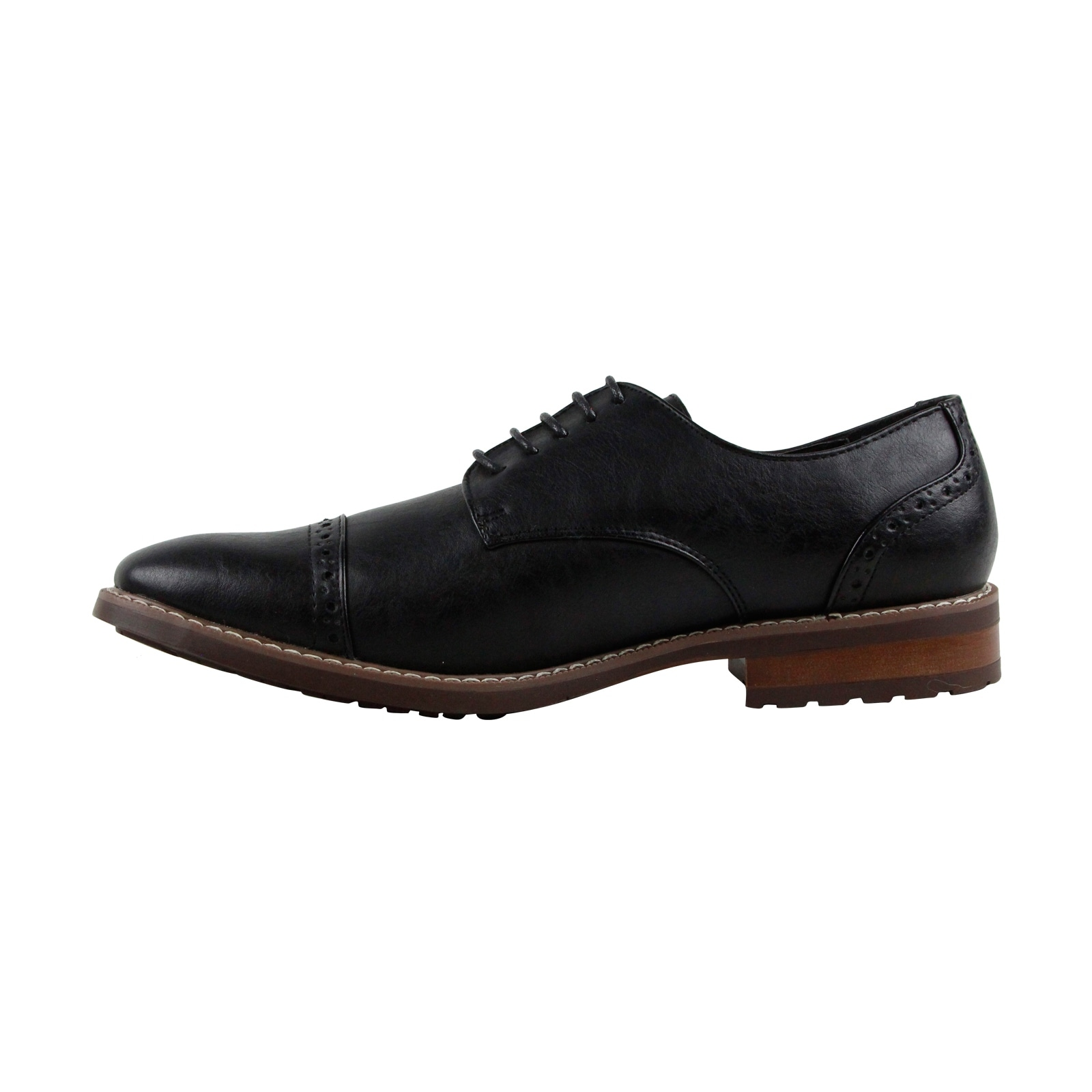 b97f7eaebb1 Steve Madden M-Atkin Mens Black Leather Casual Dress Lace Up Oxfords Shoes