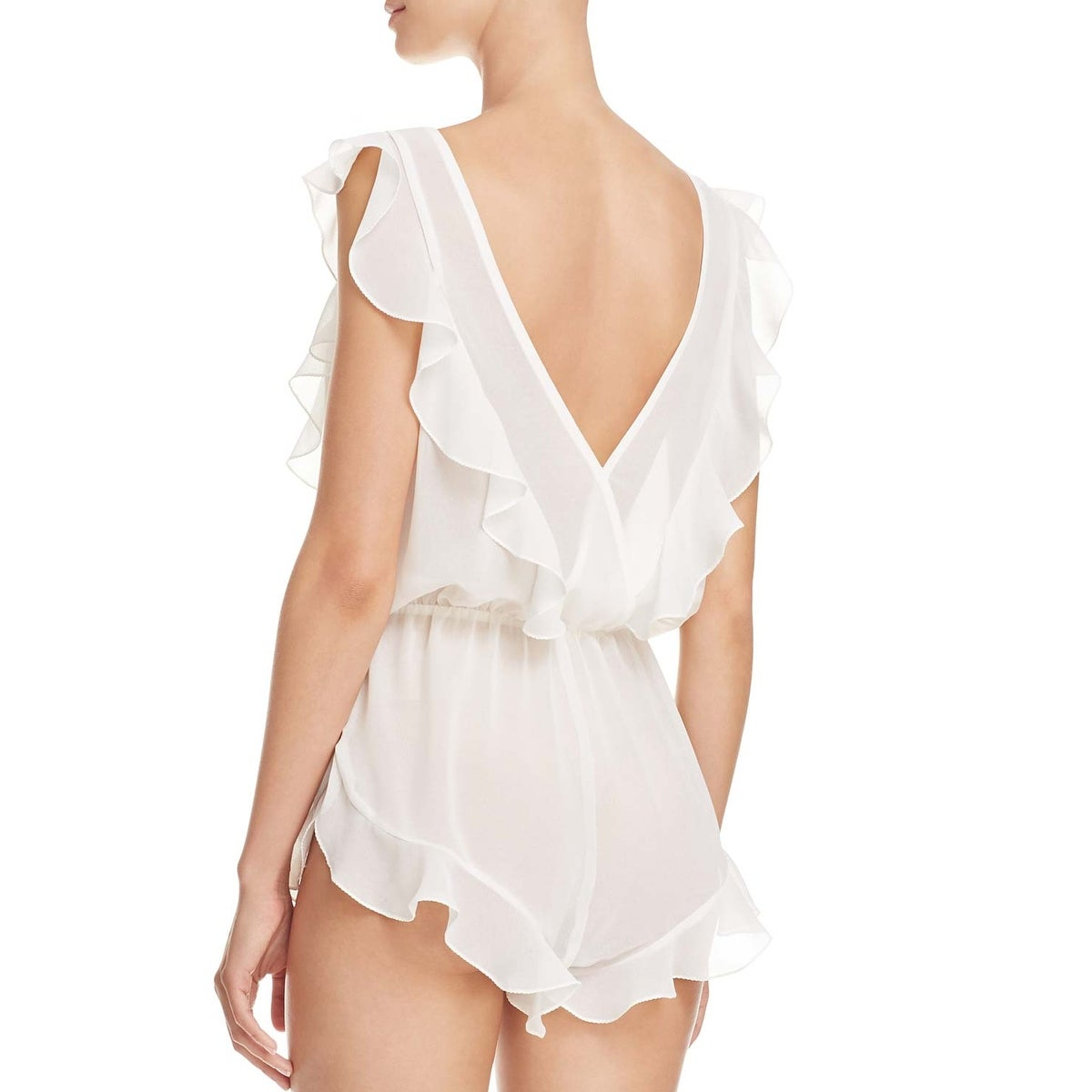 b925e4463a4 Shop Flora Nikrooz Ladies White Ivory Fou Fou Sheer Flirty Romper Large L -  Free Shipping On Orders Over  45 - Overstock - 20896576