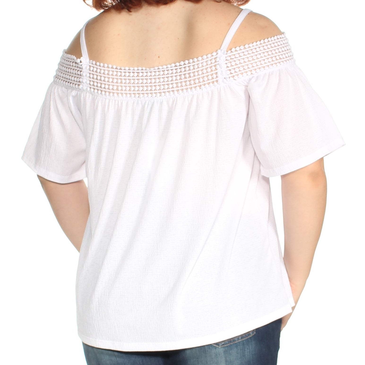 3bcfb09d77939d Shop CABLE AND GAUGE Womens White Cold Shoulder Lace Short Sleeve Square  Neck Top Size  XL - Free Shipping On Orders Over  45 - Overstock - 23456933