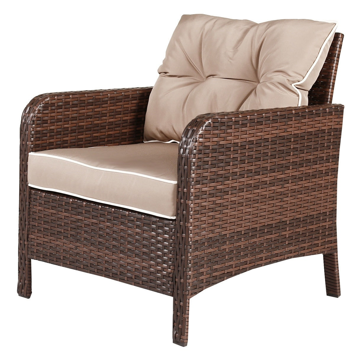 Costway 5 Pcs Rattan Wicker Furniture Set Sofa Ottoman W Brown Cushion Patio Garden Yard As Pic Free Shipping Today 16501359