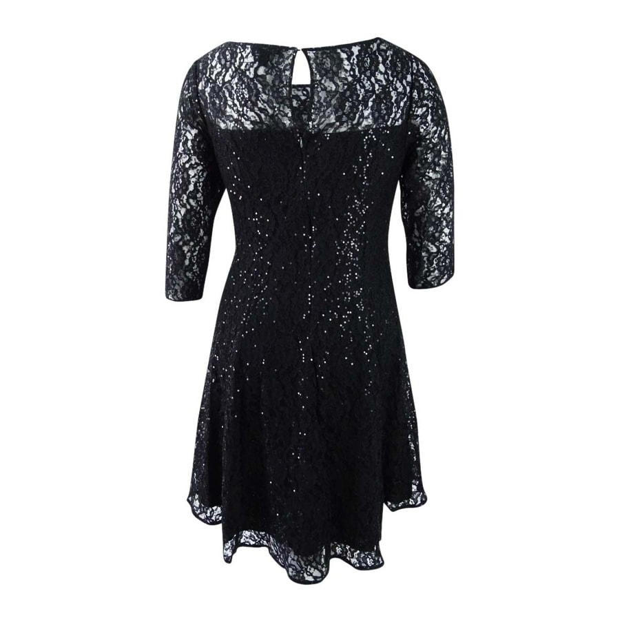 c70e7f7cefd Shop SL Fashions Women s Plus Size Sequined Lace Fit   Flare Dress - Black  - Free Shipping Today - Overstock - 21294834