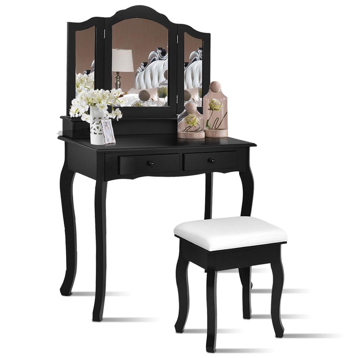 Shop Costway Vanity Makeup Dressing Table Set Bathroom W/Stool 4  Draweru0026Mirror Jewelry Wood Desk Black   Free Shipping Today   Overstock.com    18621886