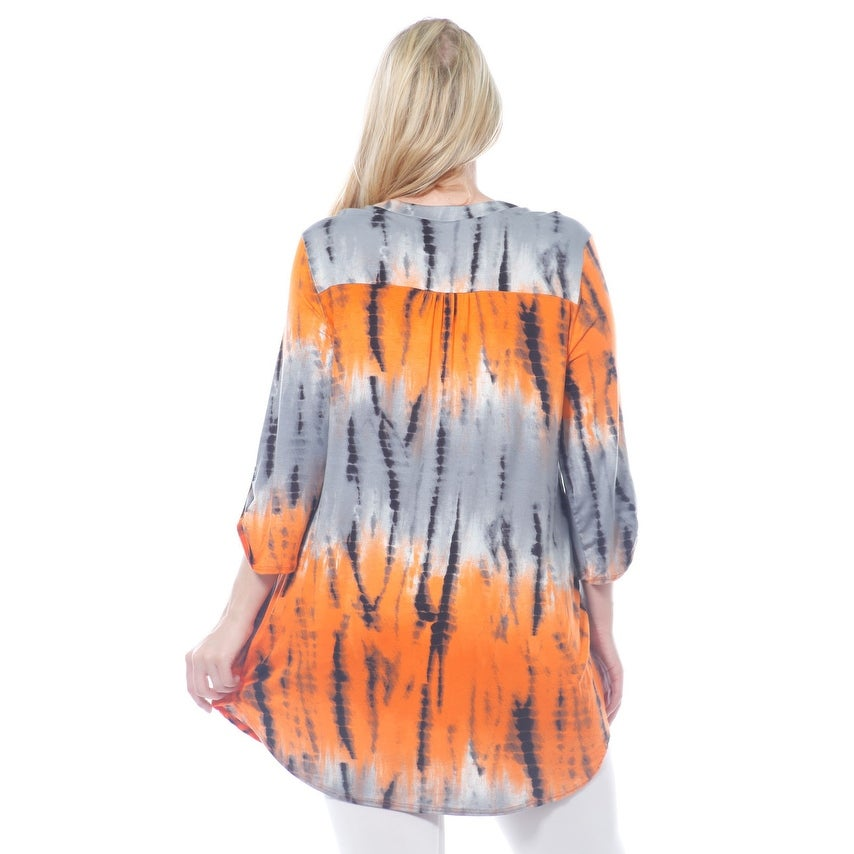 1cd55f4a47377 Shop WOMEN S PLUS SIZE HENLEY V NECK TIE DYE DRESS Blouse Made in USA 1X-3X  - Free Shipping On Orders Over  45 - Overstock - 19428614