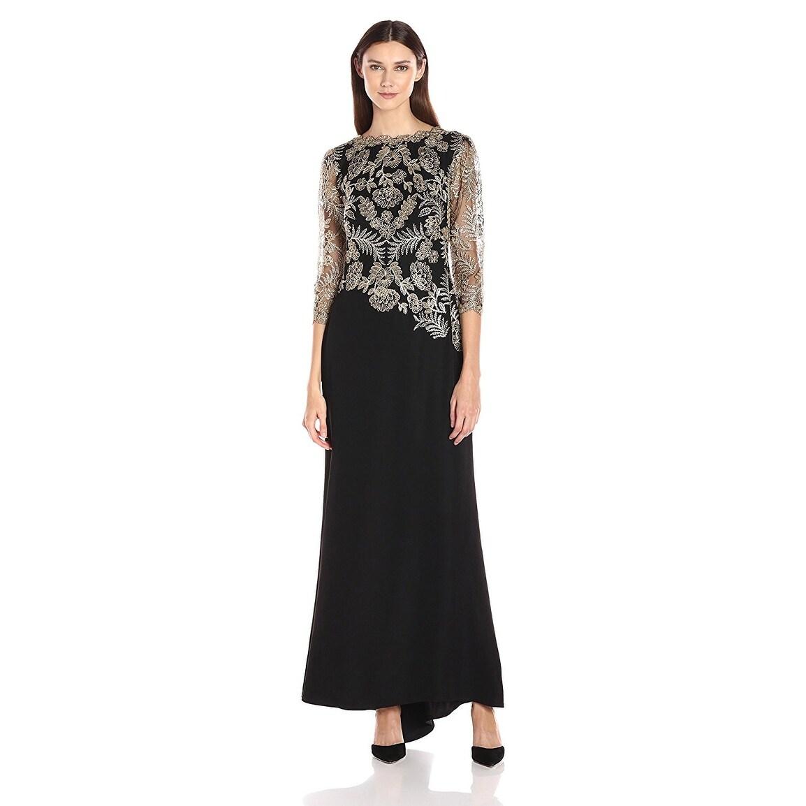 Tadashi Shoji Embroidered 3/4 Illusion Sleeve Evening Gown Dress - 4 ...