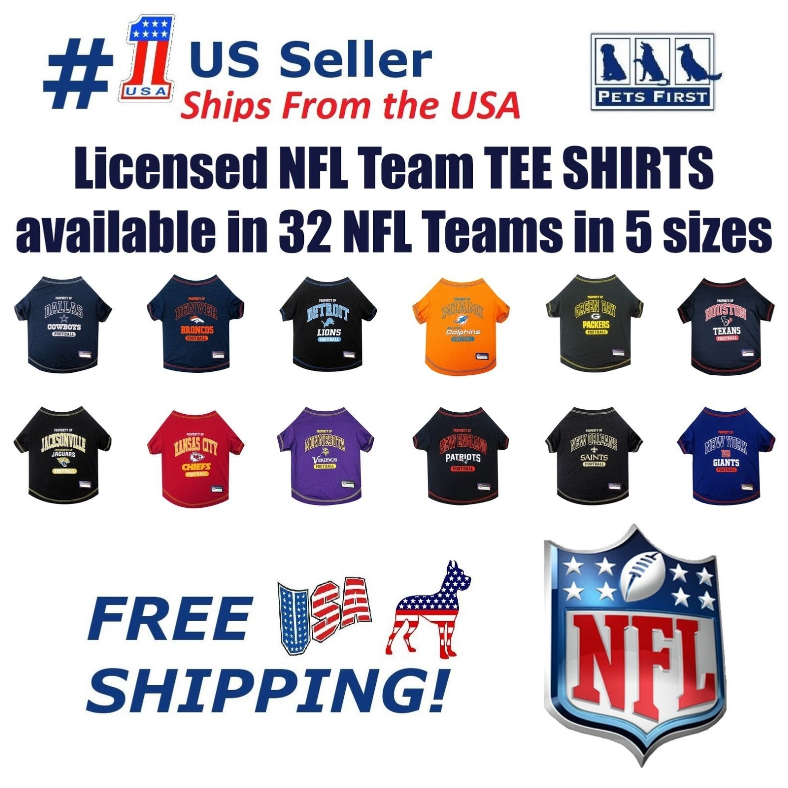 d2f53114 NFL Pet T-Shirt. Licensed, Wrinkle-free, Tee Shirt for Dogs/Cats. Football  Shirt