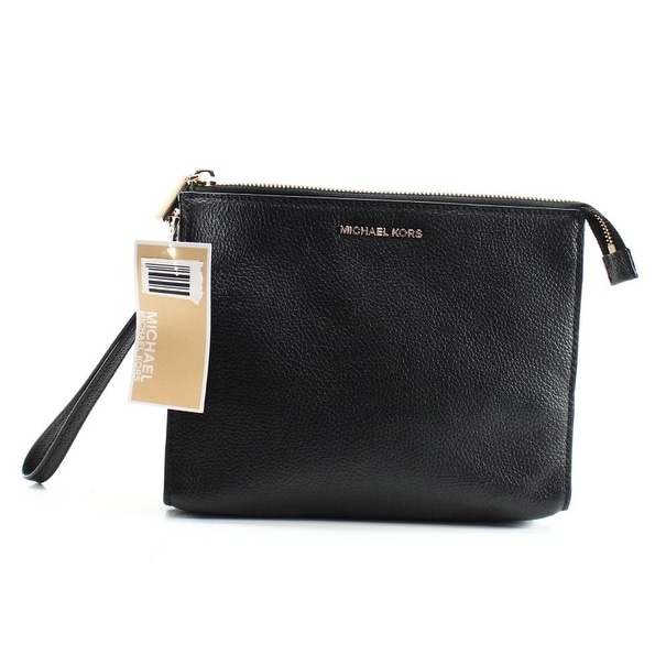 8021297999c4 Shop Michael Kors NEW Black Mercer Slim Travel Pouch Clutch Pebble Leather  - Free Shipping Today - Overstock - 18850266