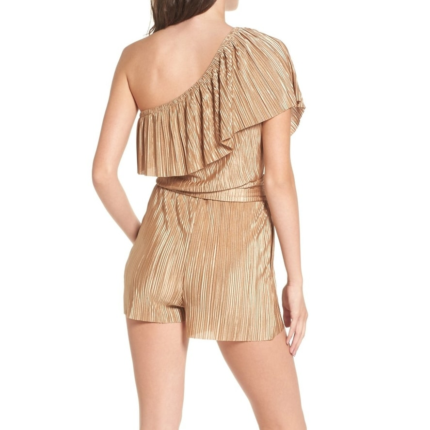 555b55f81d5 Shop Mimi Chica Gold Womens Size Large L One-Shoulder Plisse Romper - Free  Shipping On Orders Over  45 - Overstock - 22384370