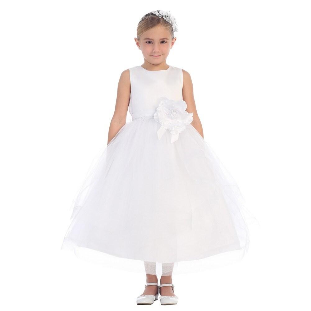 Little Girls White Satin Horse Hair Trim Tulle Elegant Flower Girl
