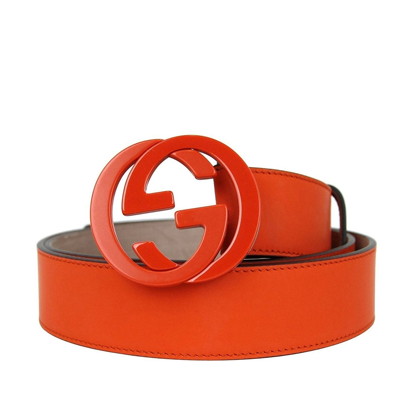 a8f304772fe Shop Gucci Men s Orange Leather Interlocking G Buckle Belt 223891 7519 (110    44) - 110   44 - Free Shipping Today - Overstock - 25752847