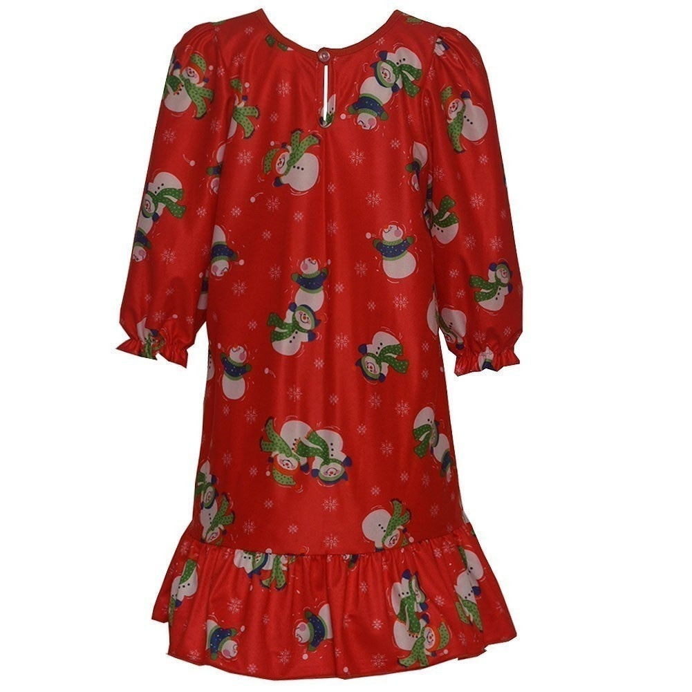 7650727c25 Shop Laura Dare Girls Red Snowman Print Bow Long Sleeved Nightgown 7-10 -  Free Shipping On Orders Over  45 - Overstock.com - 18175571