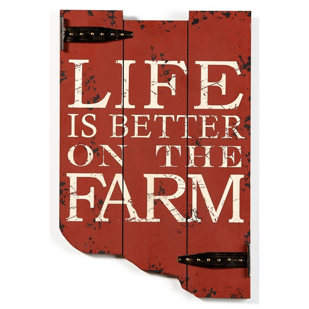 Wood And Metal Wall Plaque Life Is Better On The Farm Gate Wood And Metal 18 Inch Wall Plaque