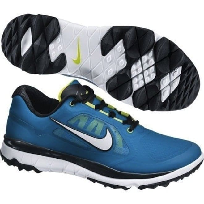 cc9d27ca42139 Shop Nike Men s FI Impact Military Blue Venom Green White Golf Shoes 611510-400  - Free Shipping Today - Overstock - 19748347