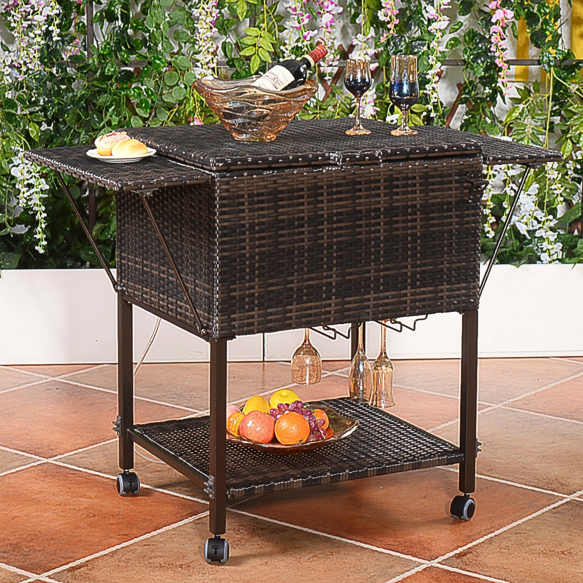 Completely new Costway Portable Rattan Cooler Cart Trolley Outdoor Patio Pool  XH01