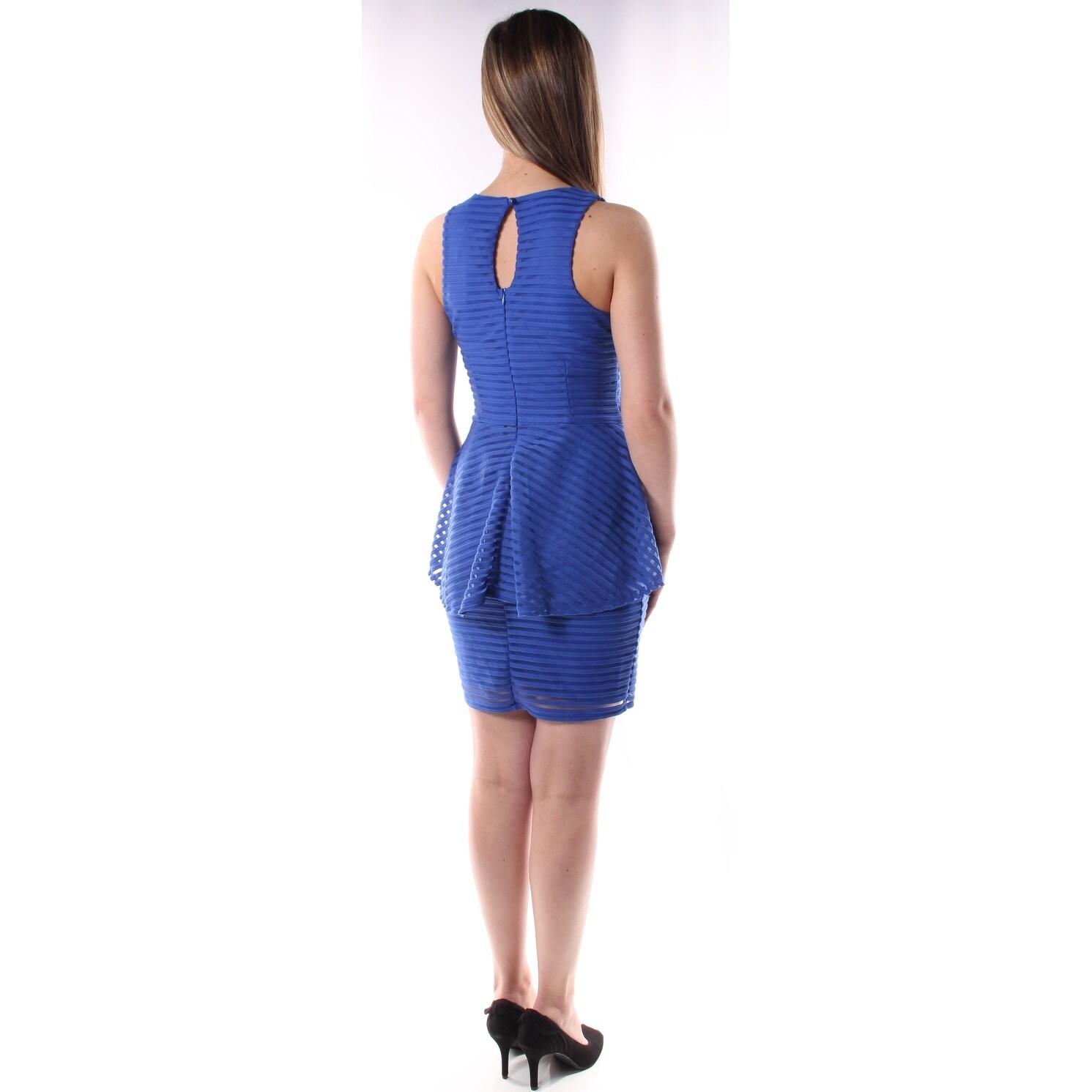 e98200f3459d Shop MATERIAL GIRL Womens Blue NAVEL AREA CUTOUT Sleeveless Jewel Neck Knee  Length Peplum Dress Juniors Size  M - On Sale - Free Shipping On Orders  Over  45 ...