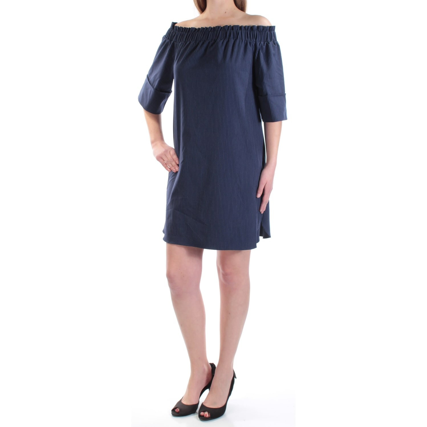fa793e0795 Shop RACHEL ROY Womens Navy Pinstripe 3 4 Sleeve Off Shoulder Mini Shift  Dress Size  M - Free Shipping On Orders Over  45 - Overstock - 21331616
