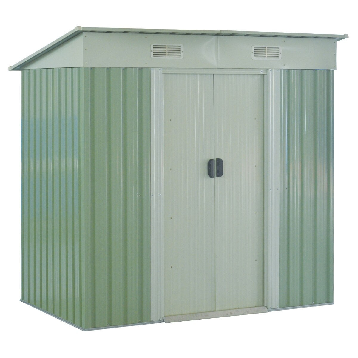 Shop Costway 4x6FT Outdoor Garden Storage Shed Tool House Sliding Door  Galvanized Steel Green   Free Shipping Today   Overstock.com   16419865